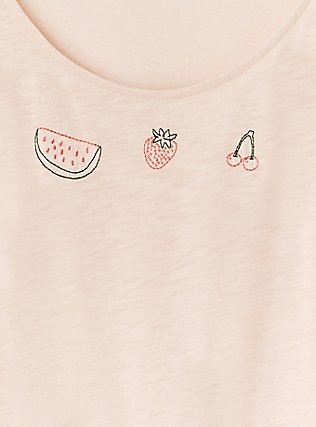Light Pink Embroidered Fruit Tie Front Tank, BLUSH, alternate
