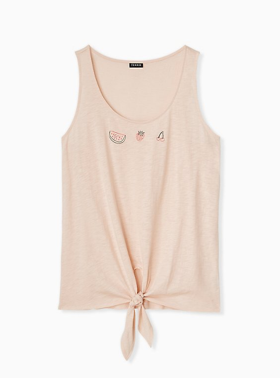 Light Pink Embroidered Fruit Tie Front Tank, BLUSH, hi-res