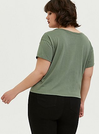 Looney Tunes Bugs Bunny Light Olive Green Crop Tee, AGAVE GREEN, alternate