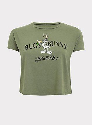 Looney Tunes Bugs Bunny Light Olive Green Crop Tee, AGAVE GREEN, flat