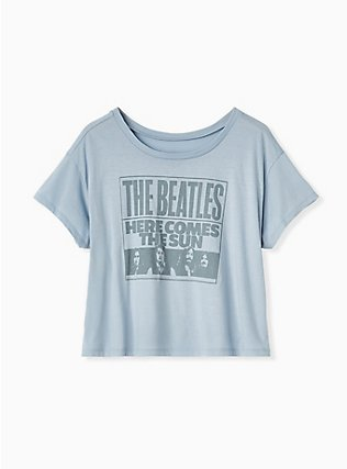 The Beatles Here Comes The Sun Light Blue Crop Crew Tee, MEDIUM HEATHER GREY, flat