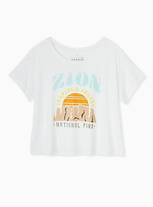 Zion Temples & Towers White Crop Crew Tee, CLOUD DANCER, flat