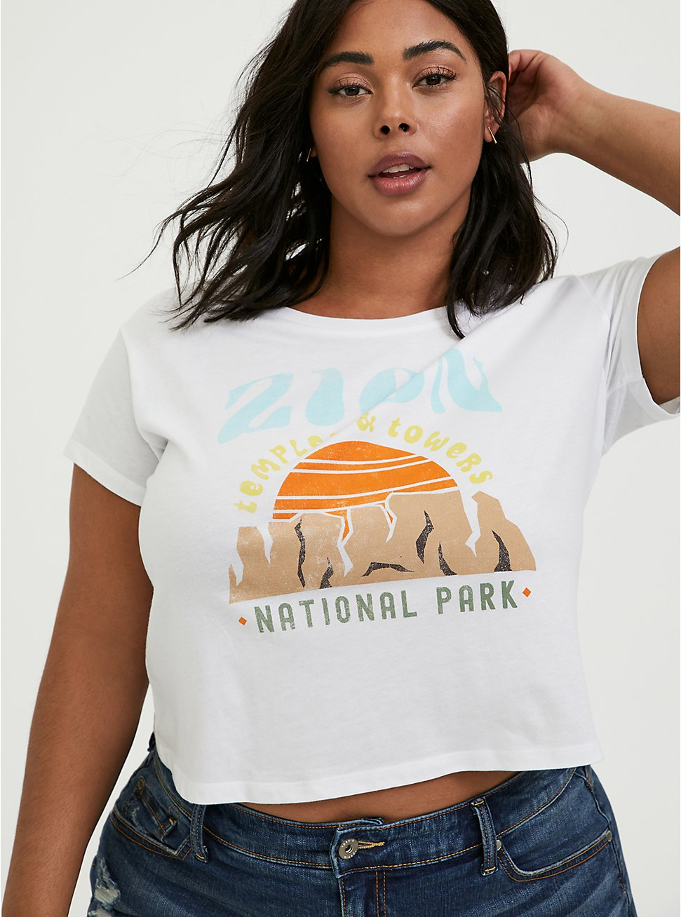 Plus Size Zion Temples & Towers White Crop Crew Tee, CLOUD DANCER, hi-res