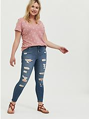 Classic Fit V-Neck Tee - Heritage Cotton Cactus Dusty Pink, CACTUS OUTLINE, alternate