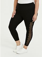 Plus Size Crop Premium Legging - Scalloped Mesh Inset Black, DEEP BLACK, alternate
