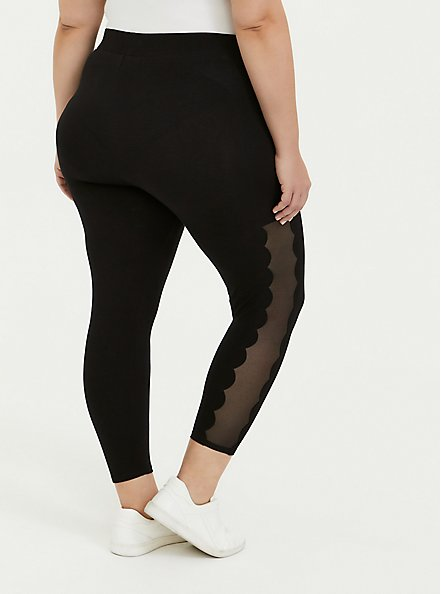 Crop Premium Legging - Scalloped Mesh Inset Black, DEEP BLACK, alternate