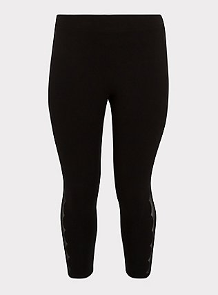 Crop Premium Legging - Scalloped Mesh Inset Black, DEEP BLACK, flat