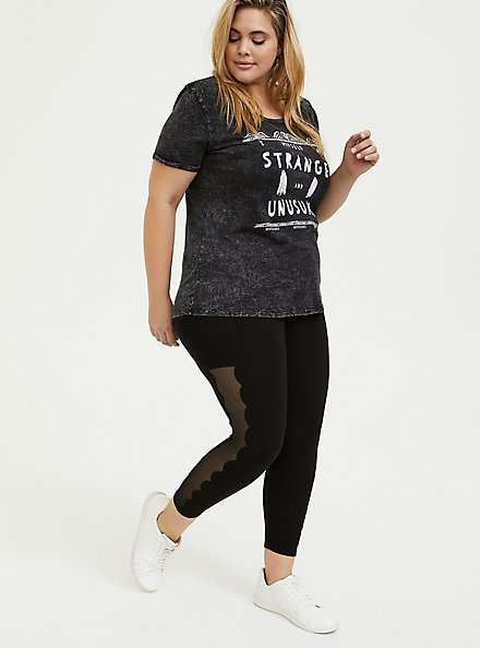 Crop Premium Legging - Scalloped Mesh Inset Black, DEEP BLACK, hi-res
