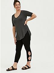 Crop Premium Legging - Dual Keyhole Black, DEEP BLACK, alternate