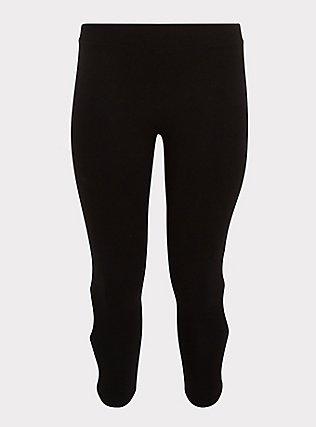 Crop Premium Legging - Dual Keyhole Black, DEEP BLACK, flat