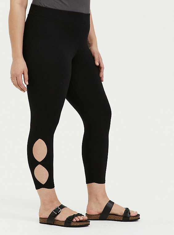 Plus Size Crop Premium Legging - Dual Keyhole Black, , hi-res