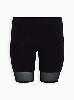 Black Mesh Hem Bike Short, DEEP BLACK, flat