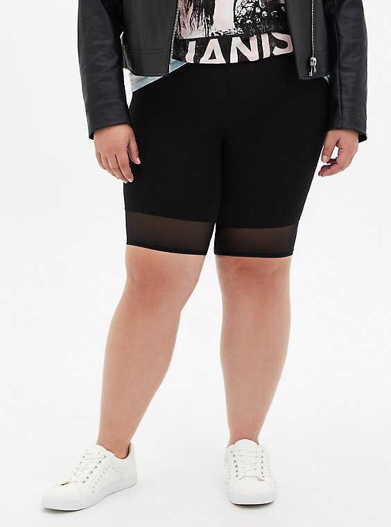 Black Mesh Hem Bike Short, , hi-res