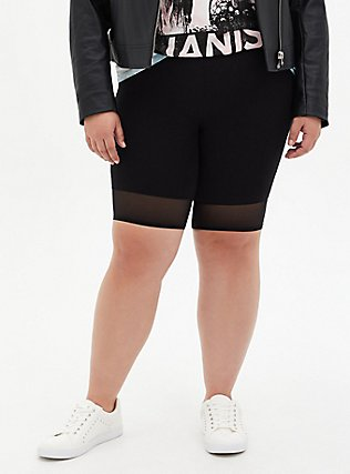Black Mesh Hem Bike Short, DEEP BLACK, hi-res