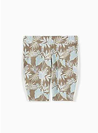 Olive Brown Leaf & Dual Stripe Bike Short, FLORAL, flat