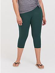 Plus Size Capri Premium Legging - Green, GARDEN TOPIARY, alternate