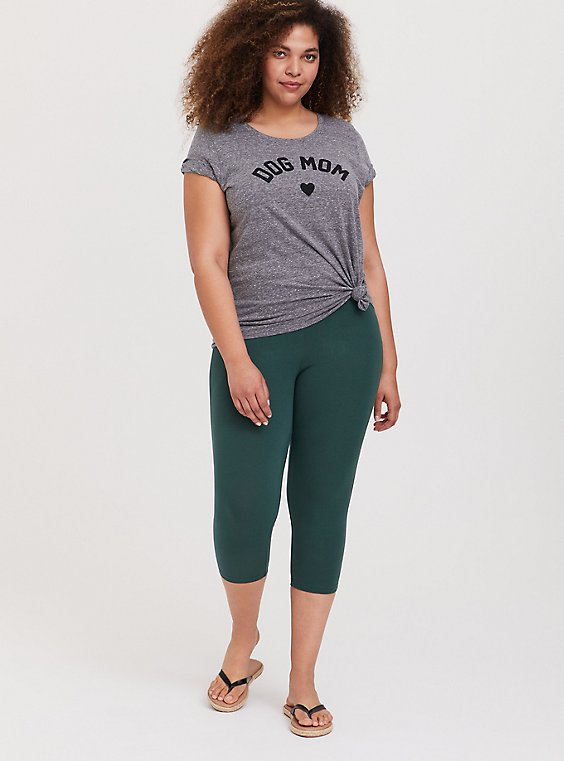 Plus Size Capri Premium Legging - Green, GARDEN TOPIARY, hi-res