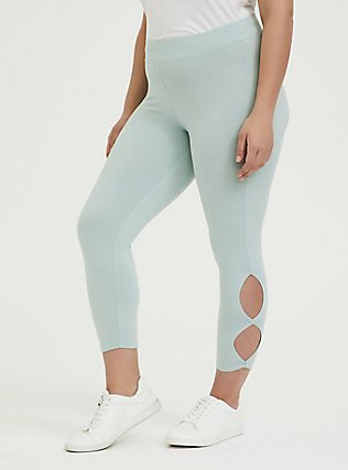 Crop Premium Legging - Dual Keyhole Mint Blue, , alternate