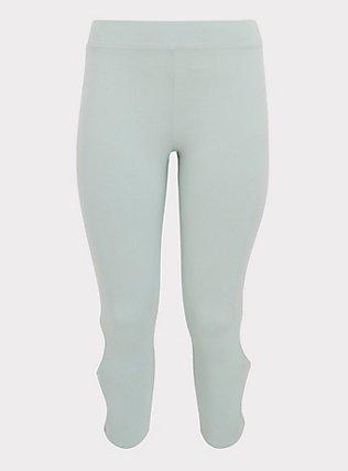 Crop Premium Legging - Dual Keyhole Mint Blue, , flat