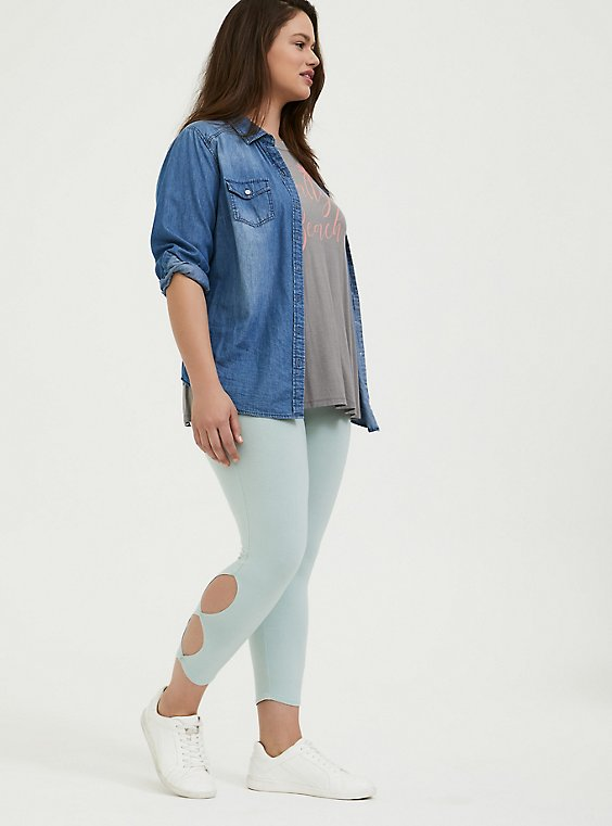 Plus Size Crop Premium Legging - Dual Keyhole Mint Blue, , hi-res