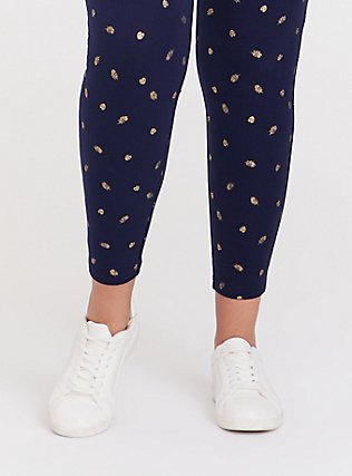 Premium Legging - Leaf Gold Foil & Navy, MULTI, alternate