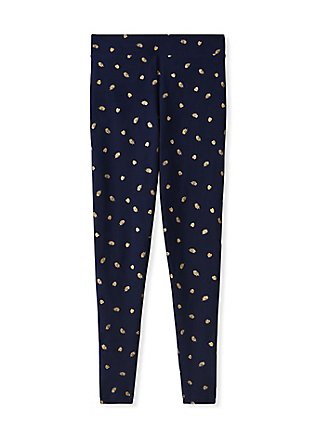 Premium Legging - Leaf Gold Foil & Navy, MULTI, flat