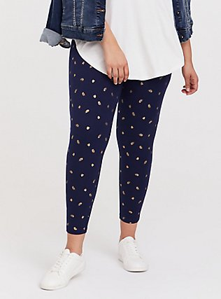 Premium Legging - Leaf Gold Foil & Navy, MULTI, hi-res
