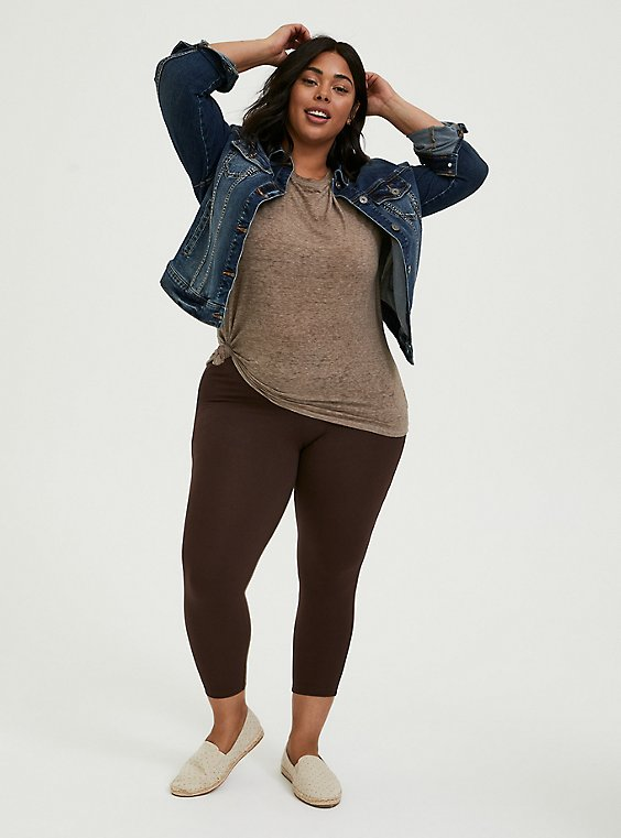Plus Size Crop Premium Legging - Chocolate Brown, , hi-res