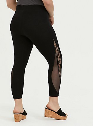 Crop Premium Legging - Mesh & Lace Inset Black, DEEP BLACK, alternate