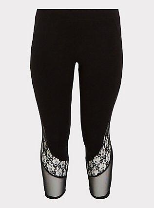 Crop Premium Legging - Mesh & Lace Inset Black, DEEP BLACK, flat