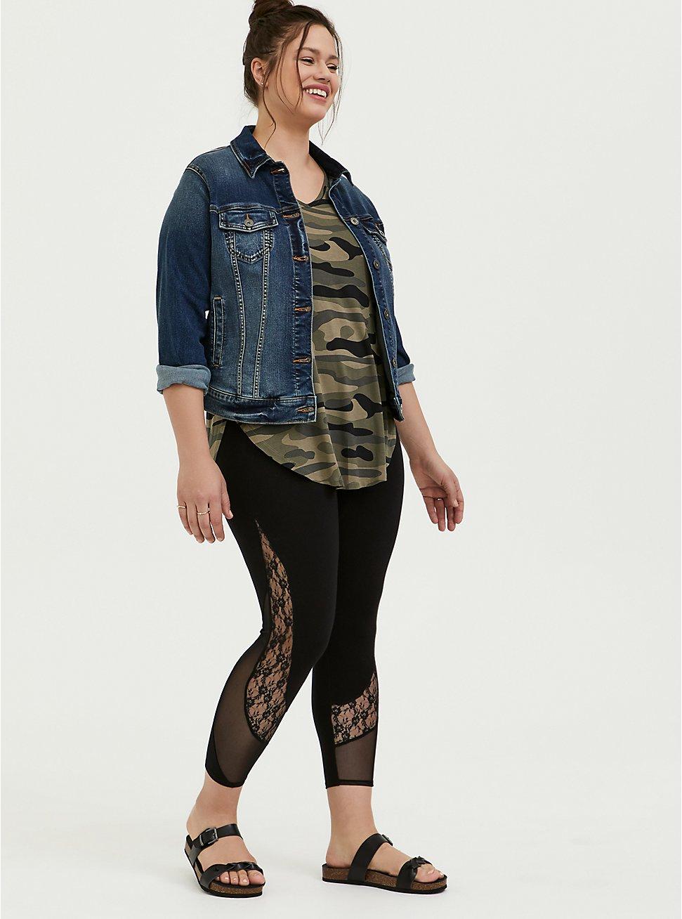 Crop Premium Legging - Mesh & Lace Inset Black, DEEP BLACK, hi-res