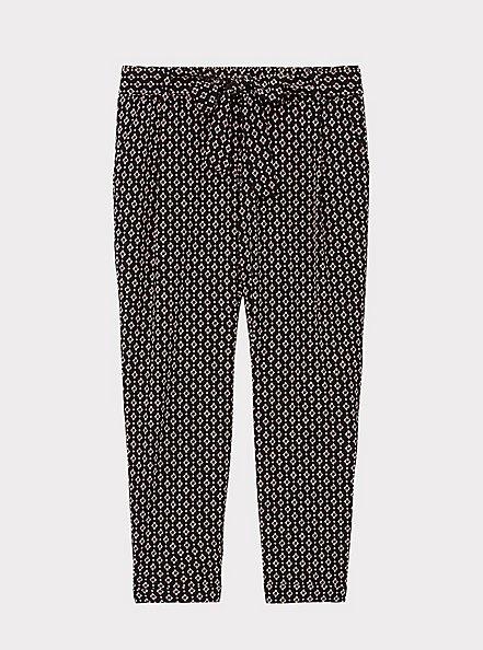 Black Geo Crepe Self Tie Tapered Pant, GEO - BLACK, hi-res