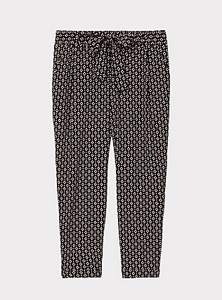 Plus Size Black Geo Crepe Self Tie Tapered Pant, GEO - BLACK, flat