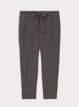 Black Geo Crepe Self Tie Tapered Pant, GEO - BLACK, flat