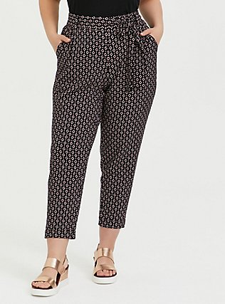 Plus Size Black Geo Crepe Self Tie Tapered Pant, GEO - BLACK, hi-res