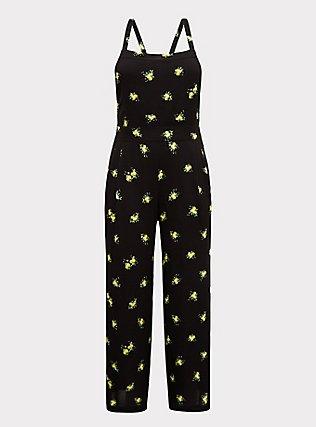 Black Lemon Crepe Wide Leg Jumpsuit, MULTI, flat