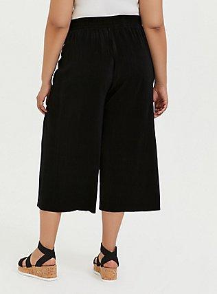Black Plisse Pleated Culotte Pant, DEEP BLACK, alternate