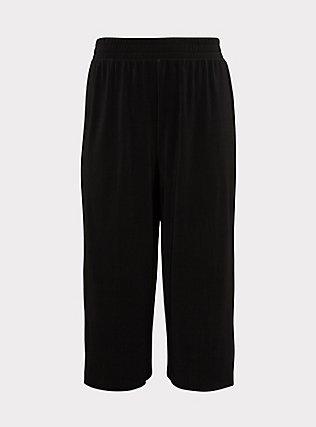 Black Plisse Pleated Culotte Pant, DEEP BLACK, flat