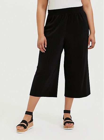 Plus Size Black Plisse Pleated Culotte Pant, DEEP BLACK, hi-res