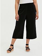 Plus Size Black Plisse Pleated Culotte Pant, DEEP BLACK, hi-res