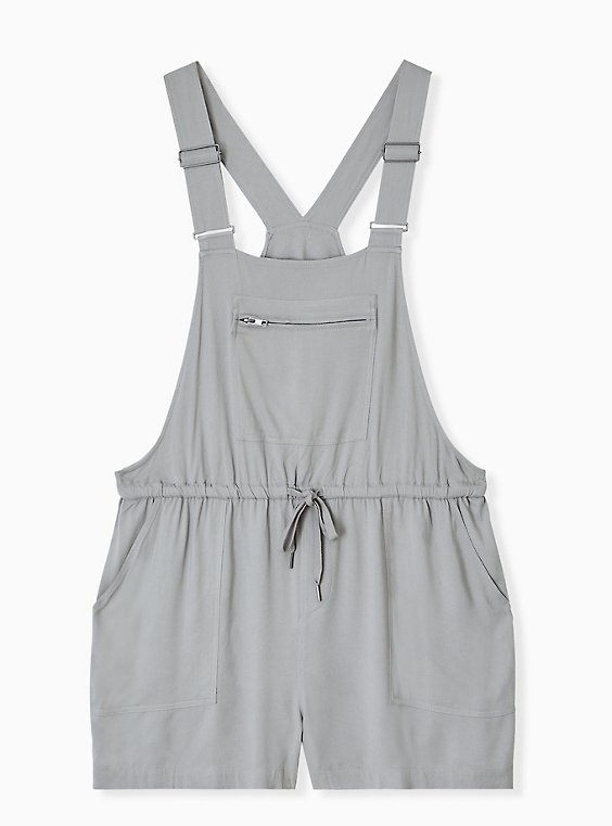 Plus Size Drawstring Shortall - Twill Grey, , hi-res