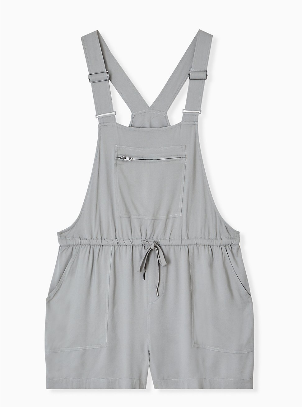 Plus Size Drawstring Shortall - Twill Grey, MOON MIST, hi-res