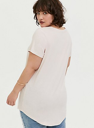 Classic Fit V-Neck Tee - Heritage Cotton Light Pink, PEACH BLUSH, alternate