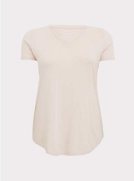 Classic Fit V-Neck Tee - Heritage Cotton Light Pink, PEACH BLUSH, hi-res