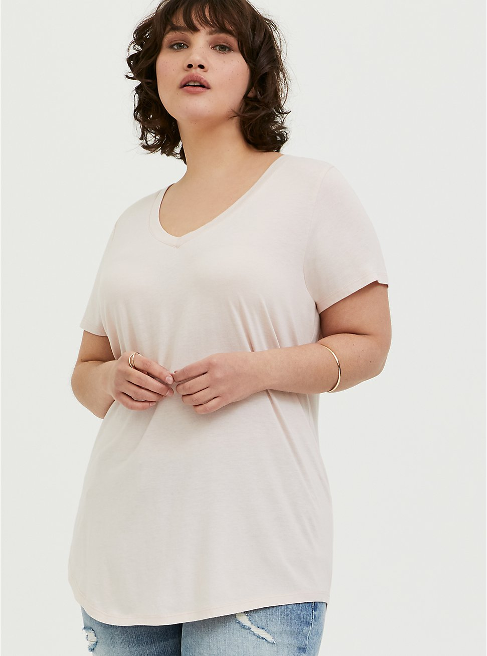 Plus Size Classic Fit V-Neck Tee - Heritage Cotton Light Pink, PEACH BLUSH, hi-res