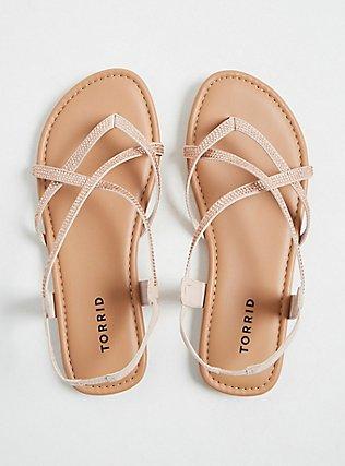 Plus Size Blush Pink Studded Slingback Sandal (WW) , BLUSH, alternate