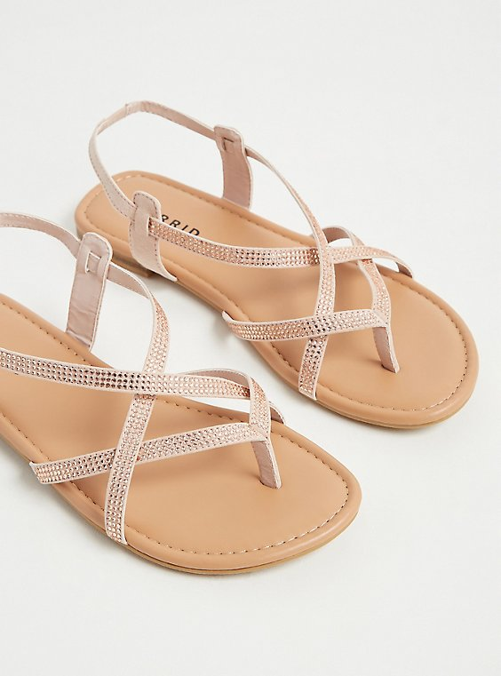 Plus Size Blush Pink Studded Slingback Sandal (WW) , , hi-res