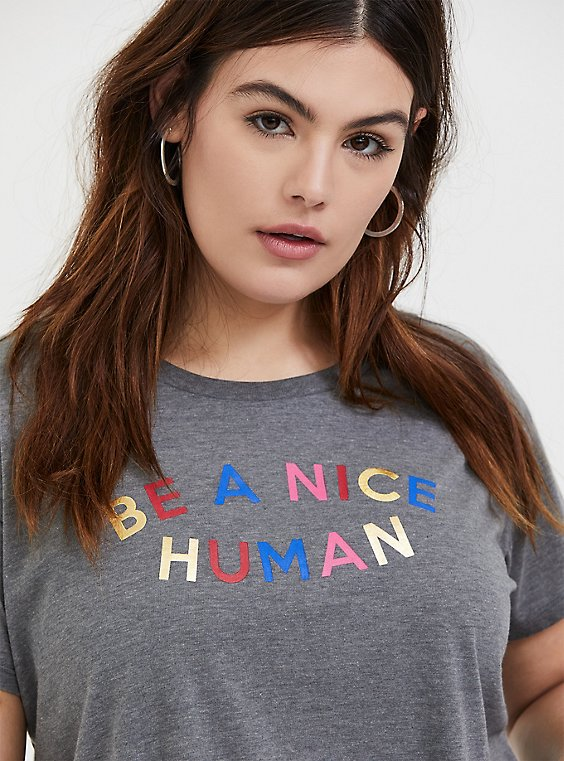 Nice Human Heathered Grey Relaxed Fit Crop Tee, , hi-res