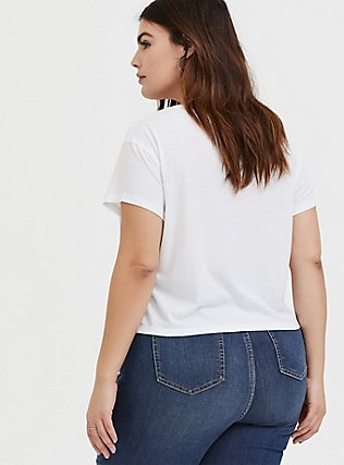 Girl Power White Relaxed Fit Crop Tee, CLOUD DANCER, alternate