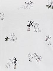 Classic Fit V-Neck Tee - Heritage Cotton Sassy Cat Print White, CAT FEVER, alternate